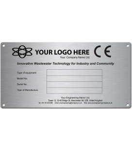 Stainless Steel Name Plate 200mm x 100mm CE