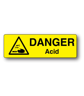 Danger Acid Strip Label