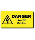 Danger Live DC Cables Label