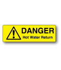 Danger Hot Water Return Label