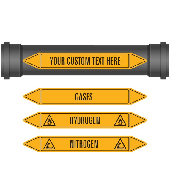 Pipe Marker 10 Pack - Gases Coloured Coded Yellow