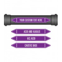Pipe Marker 10 Pack - Acids & Alkalis Coloured Coded Violet