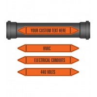 Pipe Marker 10 Pack - Electrical & Ventilation Coloured Coded Orange