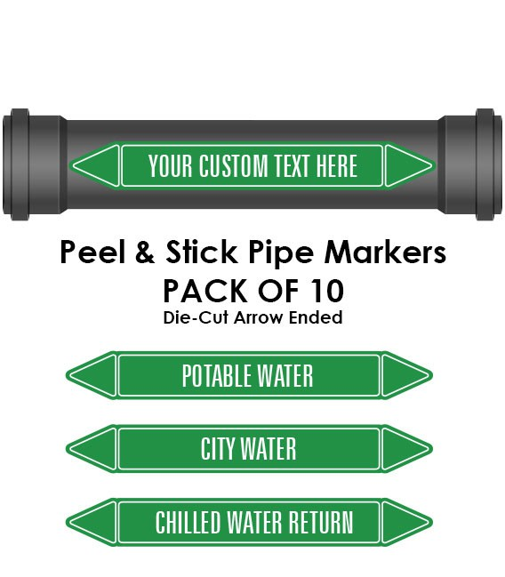 Pipe Marker 10 Pack - Air Coloured Coded Green