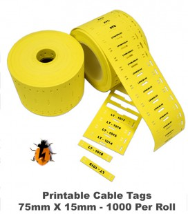 LabelBug Printer Cable Tag Rolls - 75 x 15mm