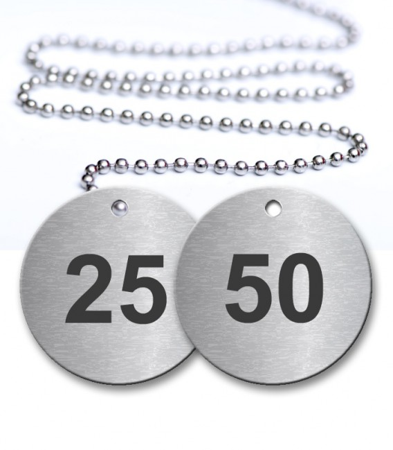 25-50 Numbered Tags Pack - Engraved Stainless Steel