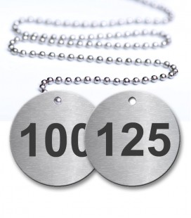 101-125 Numbered Tags Pack - Engraved Stainless Steel
