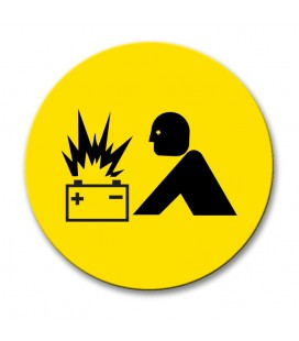 Battery Explosion - Engraved Traffolyte Machine Safety Labels