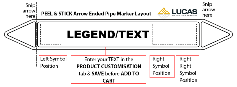 Pipe Marker Peel & Stick Arrow Ended Design